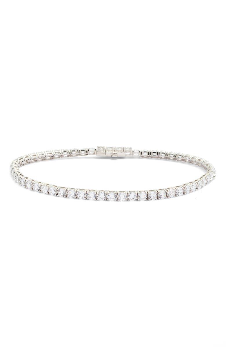 LAFONN Classic Simulated Diamond Tennis Bracelet, Main, color, SILVER