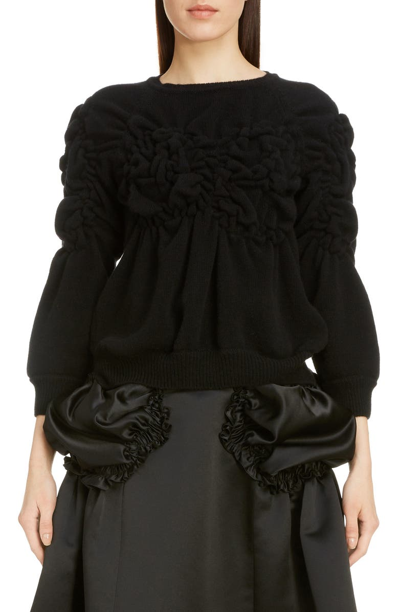 SIMONE ROCHA Ruched Flowers Wool & Cashmere Sweater, Main, color, BLACK