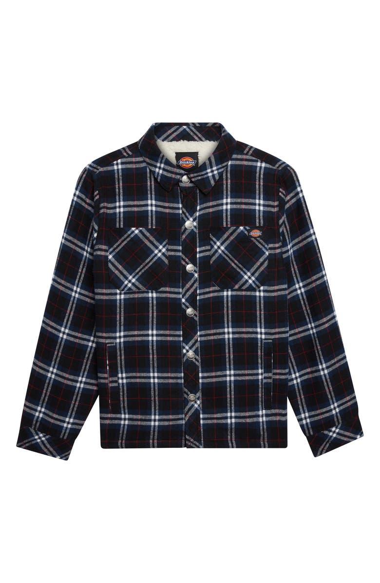DICKIES Fleece Lined Plaid Flannel Shirt Jacket, Main, color, WHITE/ BLACK/ BLUE