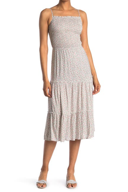 Image of Spirit of Grace Floral Smocked Sleeveless Tiered Midi Dress