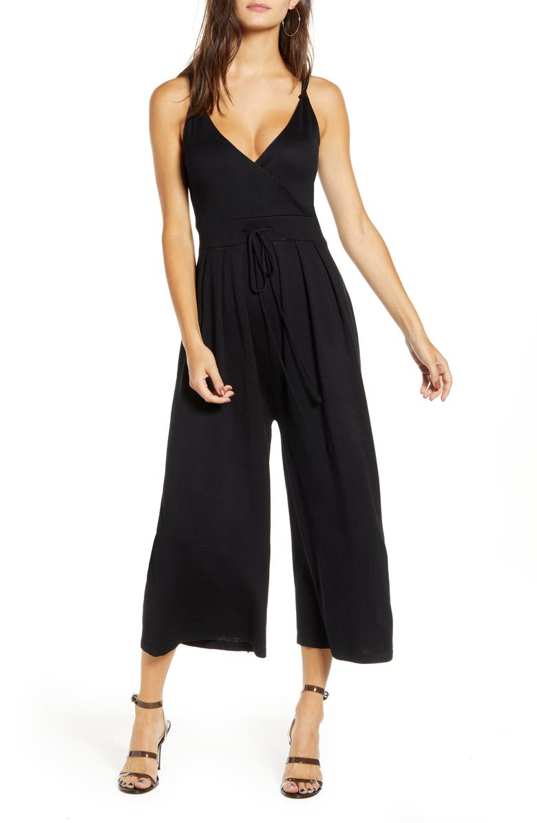 ALL IN FAVOR Sleeveless Tie Waist Jumpsuit, Main, color, BLACK