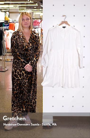 Tiered Popover Cotton Poplin Dress, sales video thumbnail