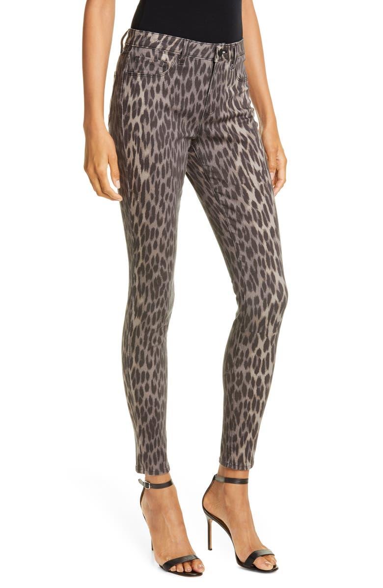 L'AGENCE Marguerite Cheetah Print Skinny Jeans, Main, color, DARK OLIVE MULTI