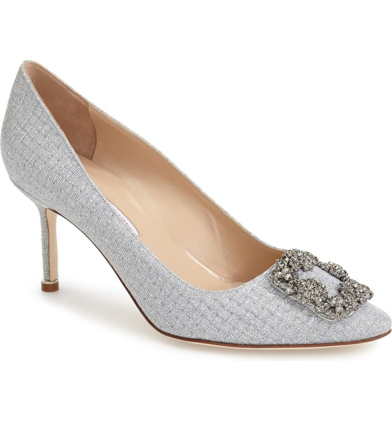 MANOLO BLAHNIK Hangisi Pump, Main, color, SILVER FABRIC