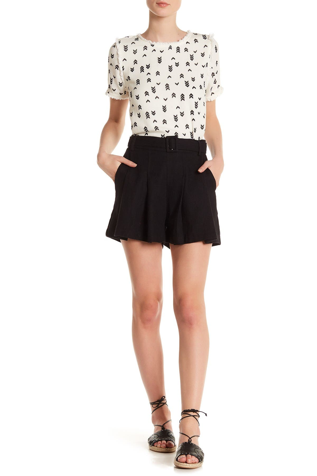 Image of Moon River Belted Linen Blend Shorts
