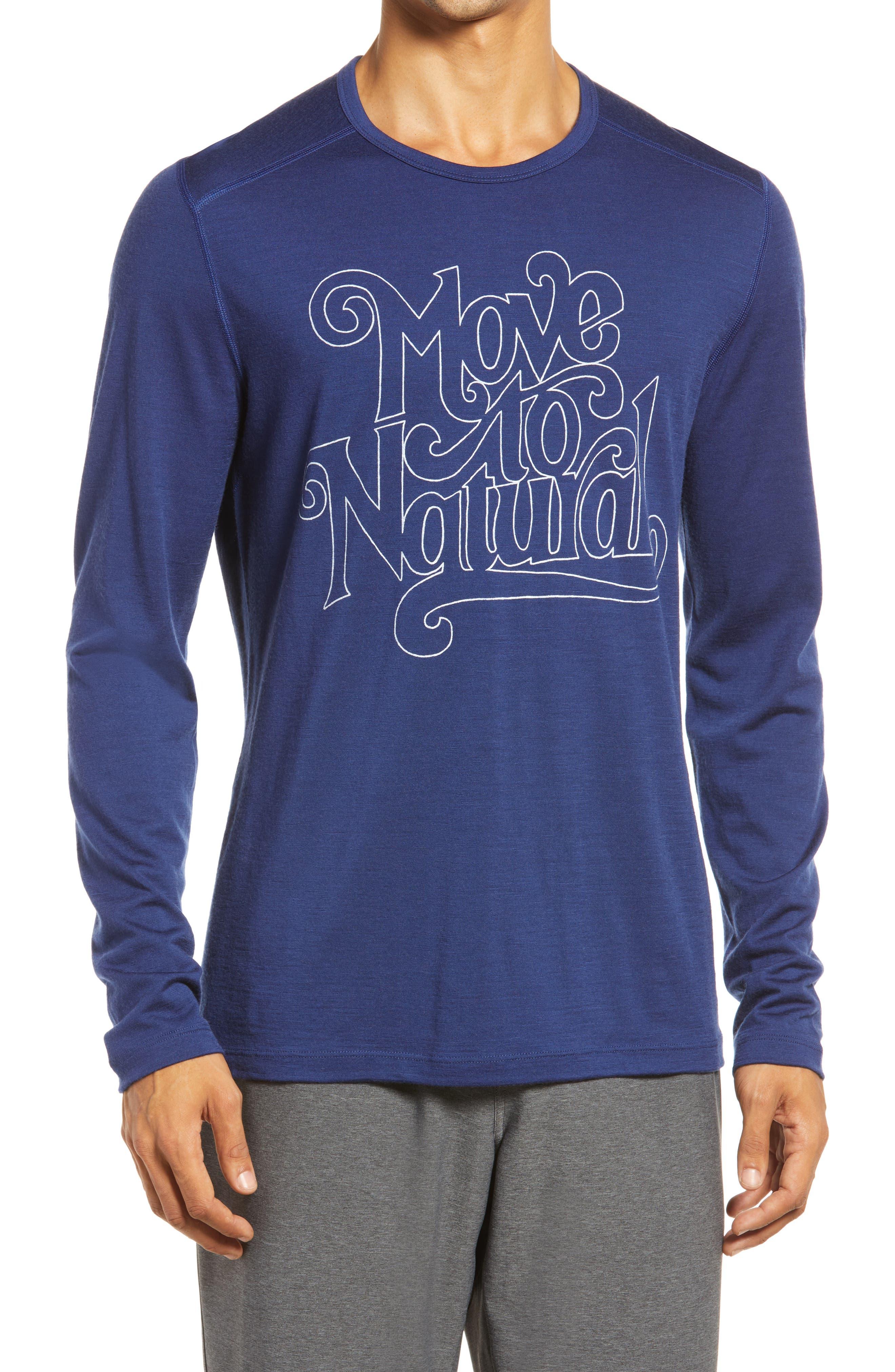 200 Oasis Crewe Move To Natural Long Sleeve Merino Wool Graphic Tee