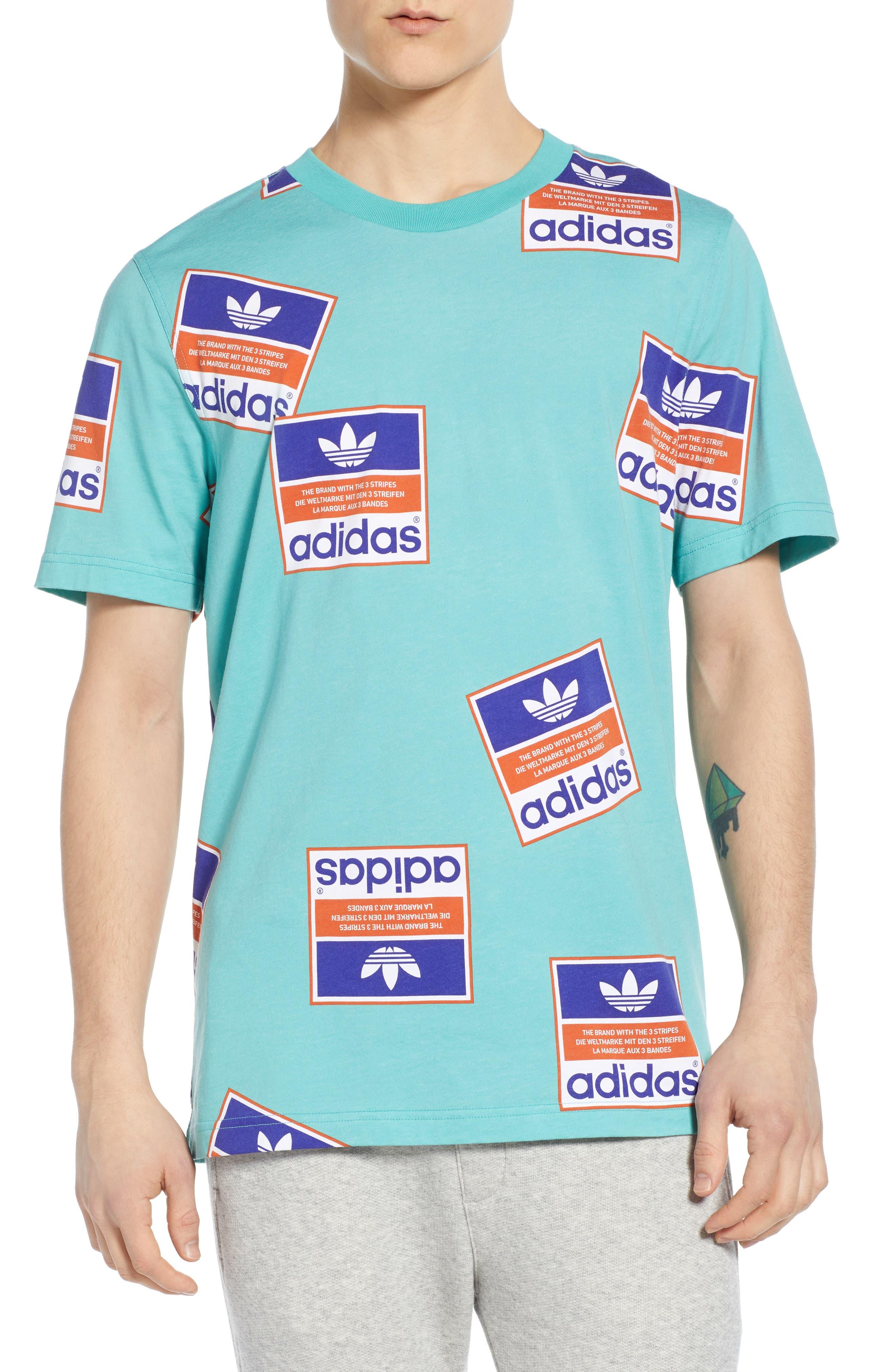 Adidas Originals Stickerbomb Graphic T-Shirt, Green
