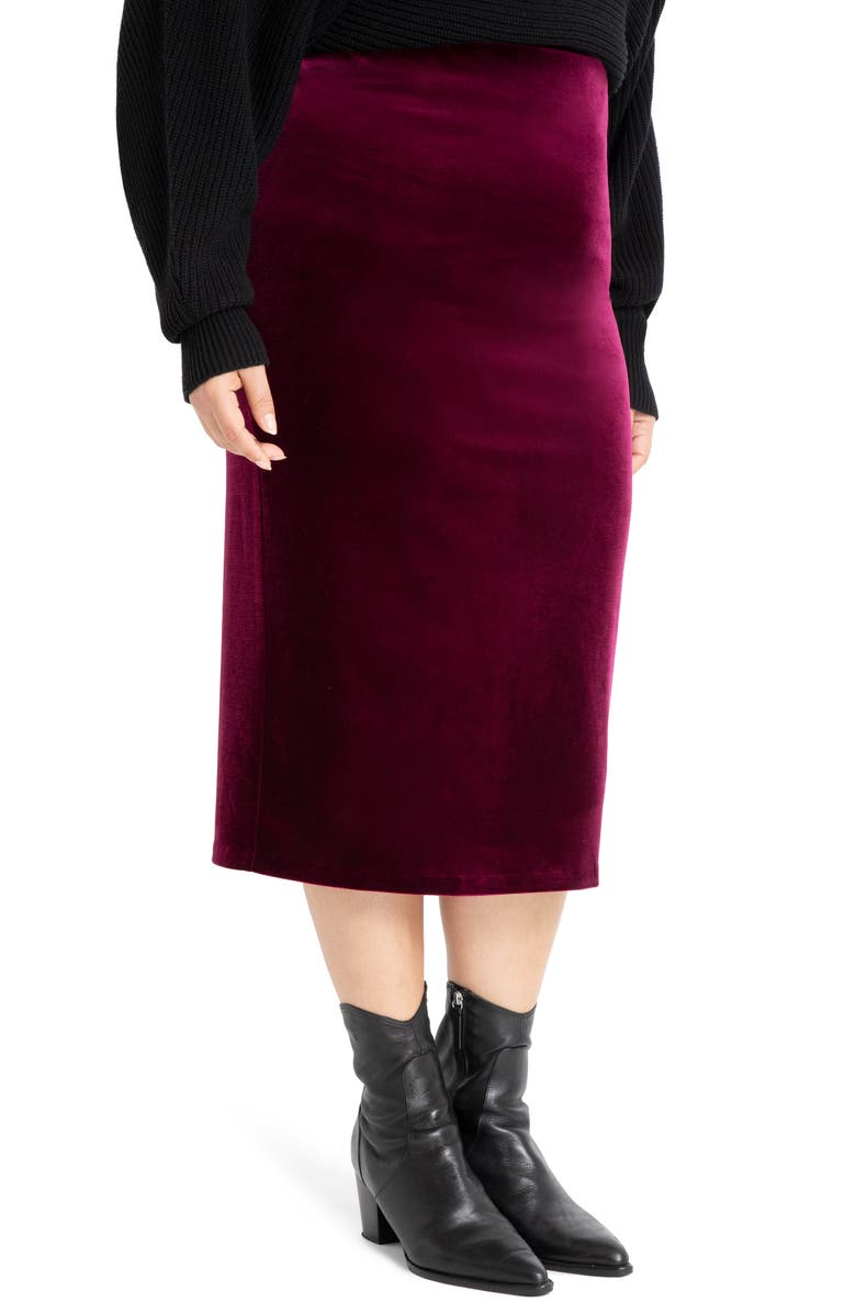 ELOQUII Velvet Pencil Skirt, Main, color, PURPLE