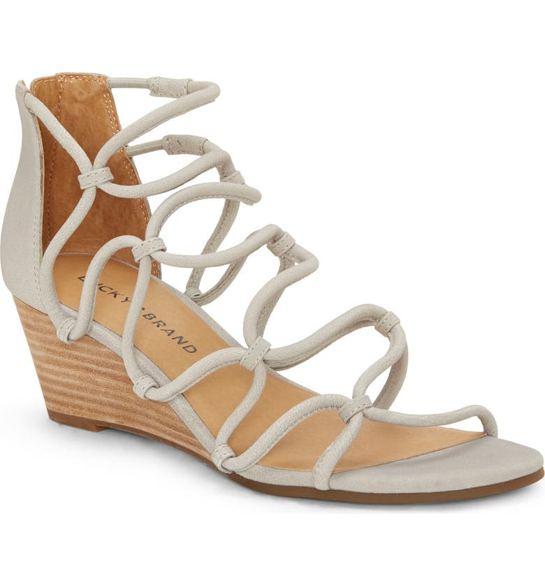 LUCKY BRAND Jilses Wedge Sandal, Main, color, CHINCHILLA LEATHER