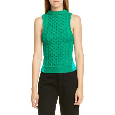 Marine Serre Upcycled Wool & Jersey Top, Green