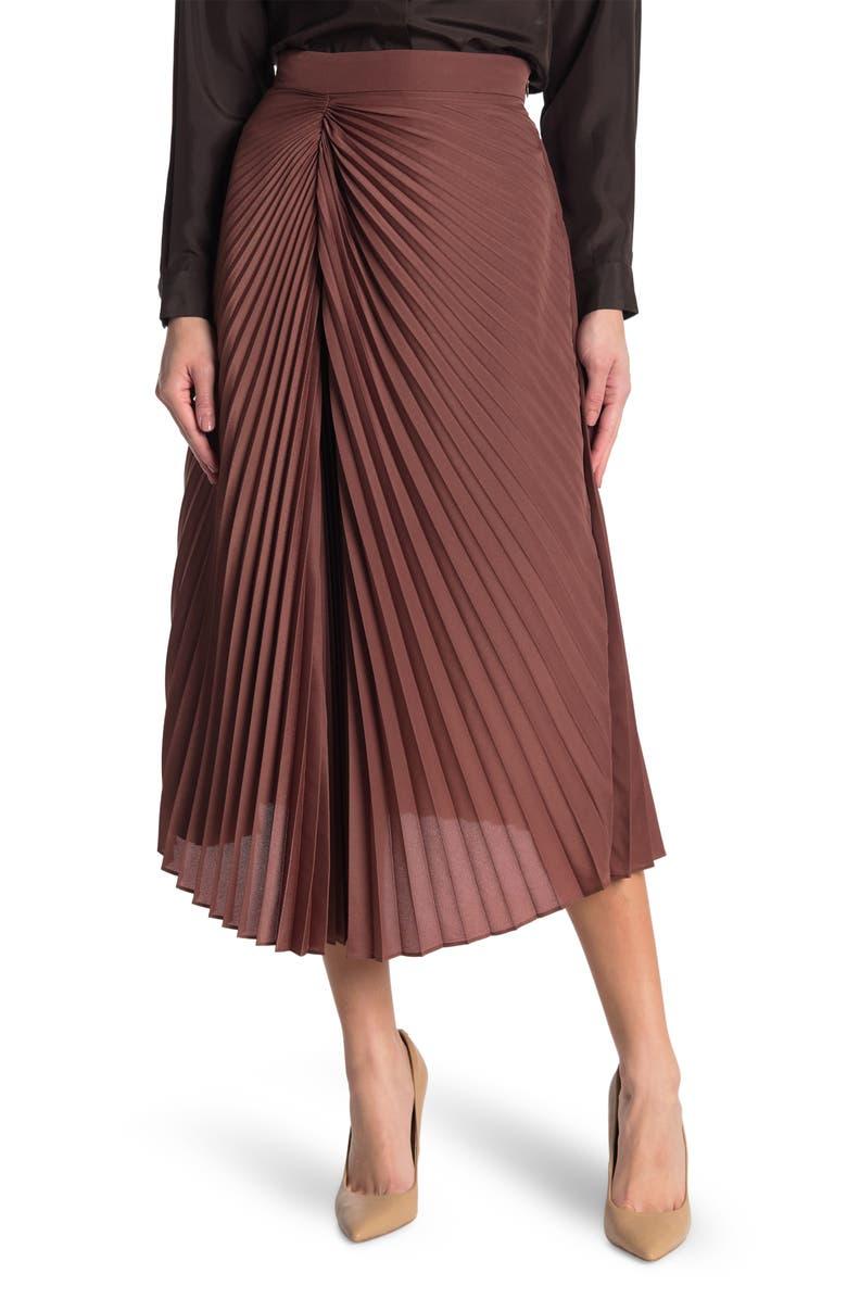 BRUNELLO CUCINELLI Ruched Seam Pleated Midi Skirt, Main, color, MAROON