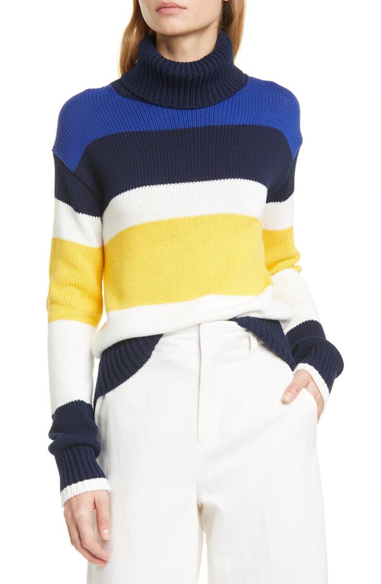 POLO RALPH LAUREN Turtleneck Stripe Sweater, Main, color, HUNTER NAVY MULTI