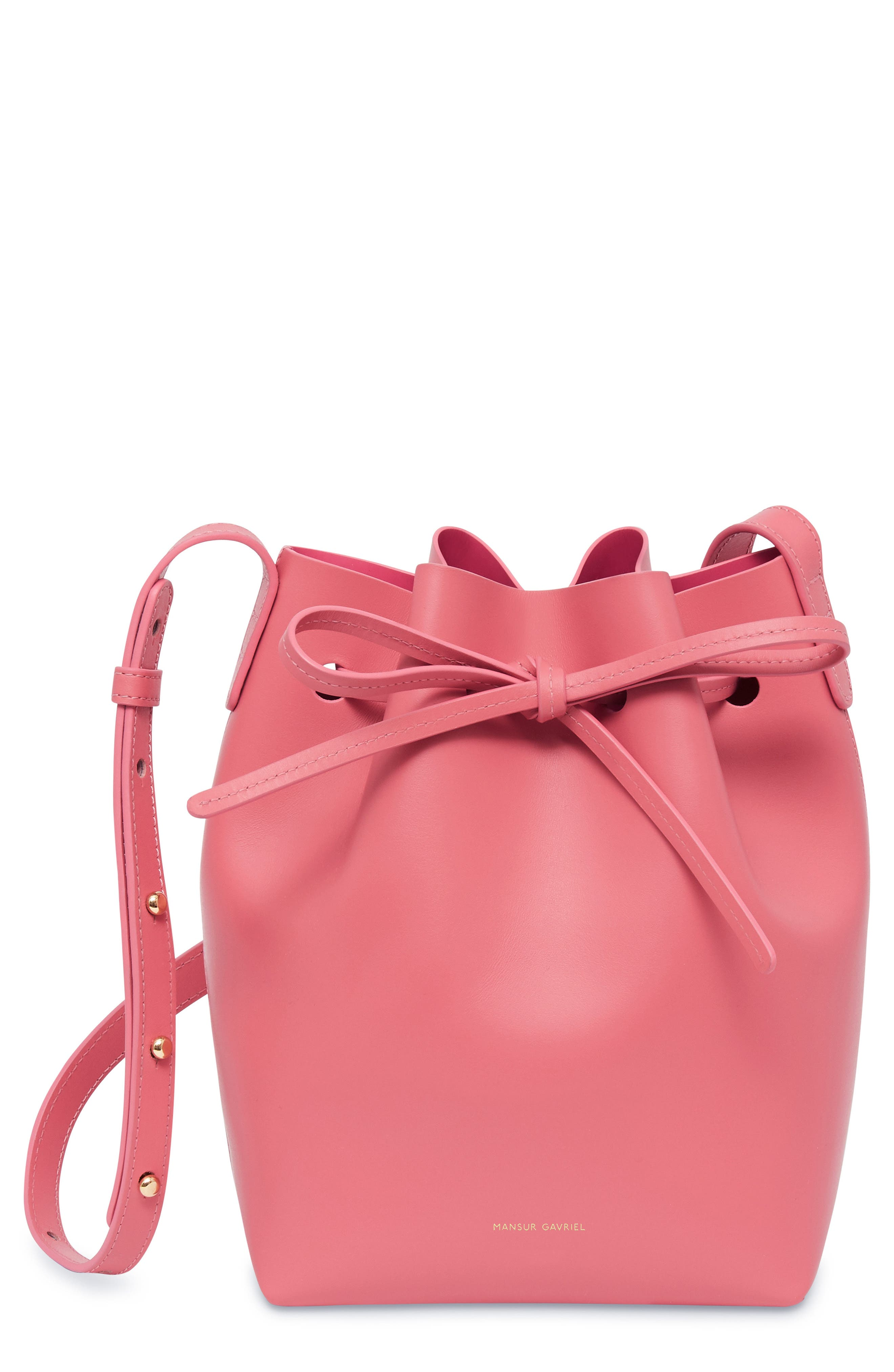 Mini Leather Bucket Bag, Main, color, DOLLY