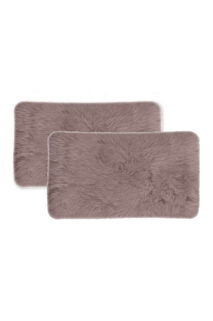 "Image of Natural New Zealand Genuine Sheepskin Pillow - 12"" X 20"" - Blush - Set of 2"