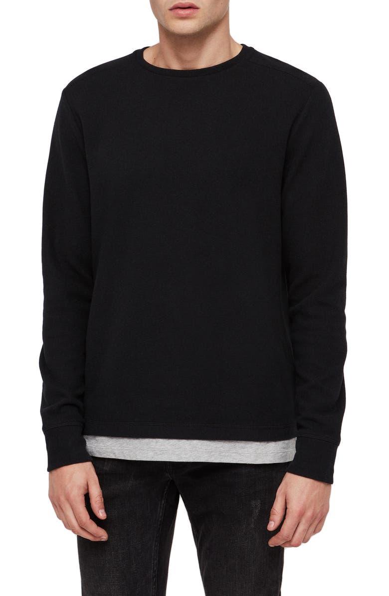 ALLSAINTS Luge Solid Long Sleeve T-Shirt, Main, color, BLACK