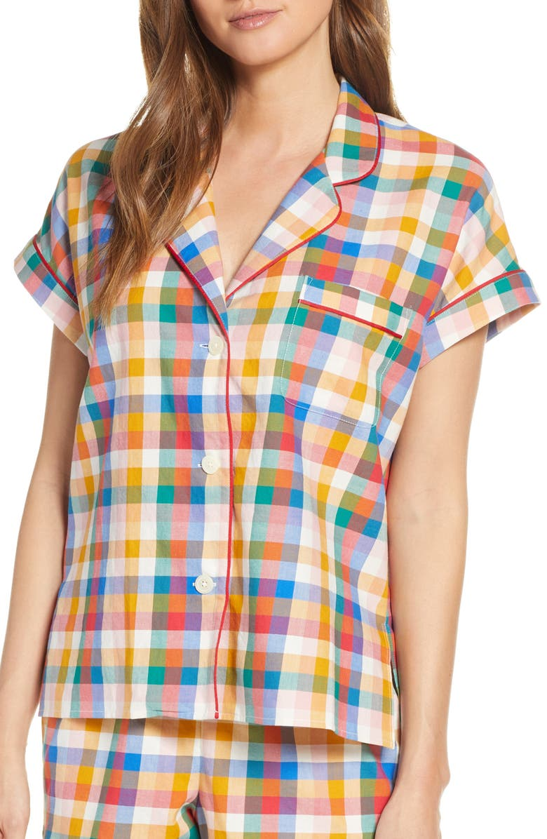 Madewell Rainbow Plaid Pajama Top Regular Plus Size