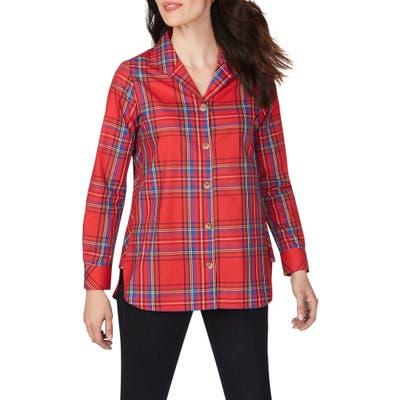 Foxcroft Pandora Emerson Tartan Wrinkle-Free Tunic Shirt, Red