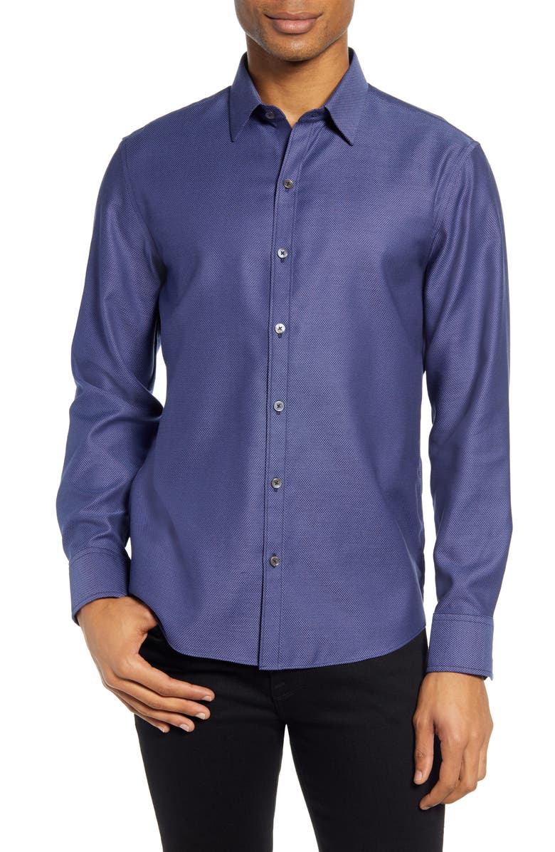 ZACHARY PRELL Yager Micro Print Button-Up Shirt, Main, color, DK BLUE