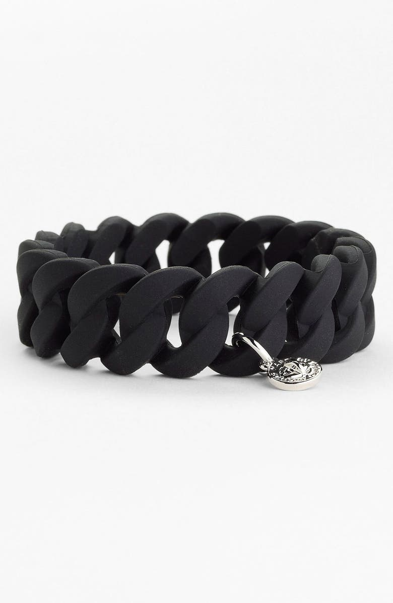 MARC BY MARC JACOBS 'Rubber Turnlock' Stretch Bracelet, Main, color, 001