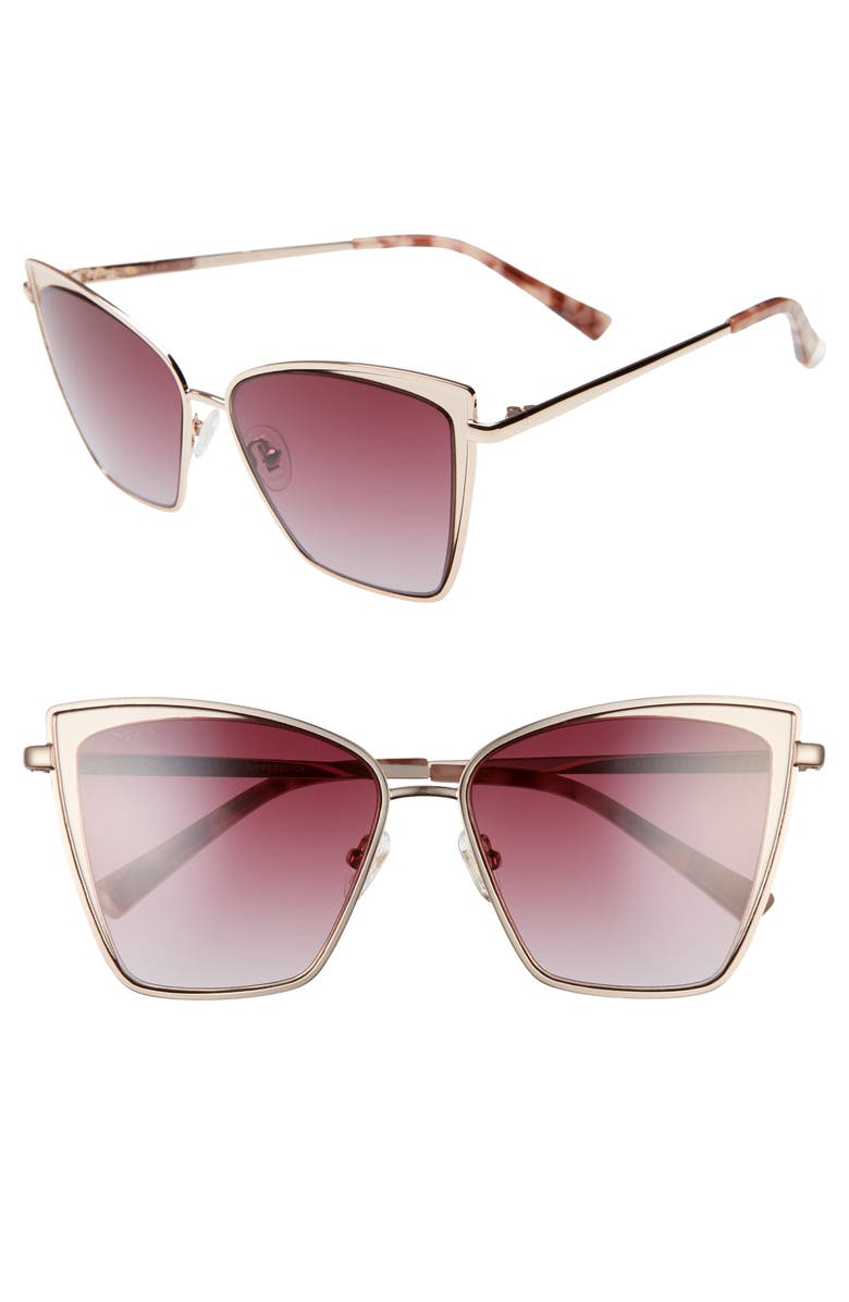 DIFF Becky 57mm Cat Eye Sunglasses, Main, color, GOLD/ BROWN