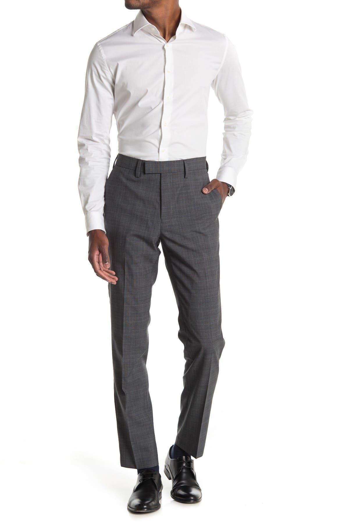 Image of Louis Raphael Wool Glen Plaid Slim Fit Pants