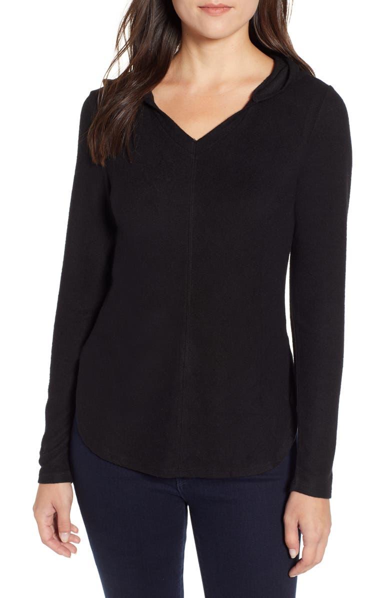 BOBEAU Sweater Hoodie, Main, color, BLACK