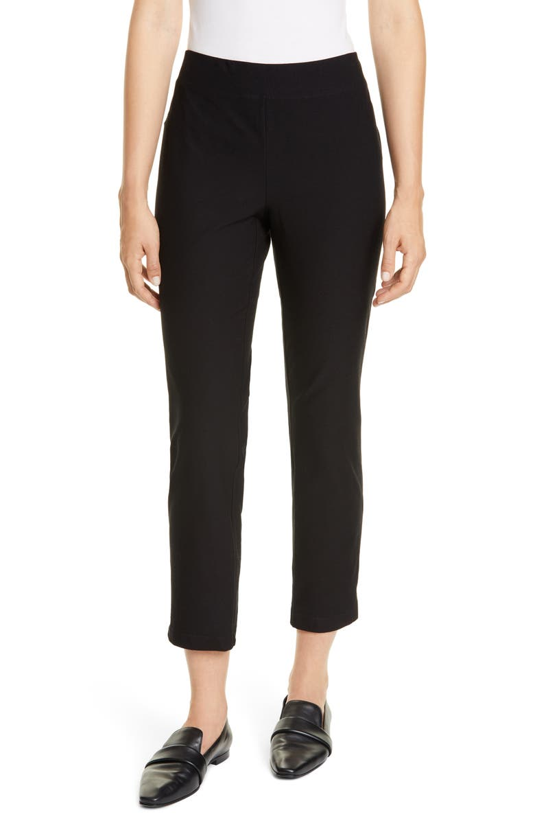 EILEEN FISHER Slim Zip Ankle Knit Pants, Main, color, BLACK