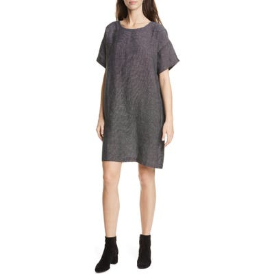 Eileen Fisher Organic Linen Blend Shift Dress, Black
