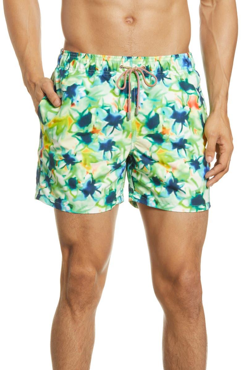 BUGATCHI Tie Dye Nylon Swim Trunks, Main, color, PALM GREEN