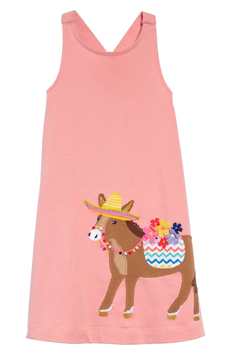 MINI BODEN Appliqué Cross Back Dress, Main, color, SHELL PINK DONKEY