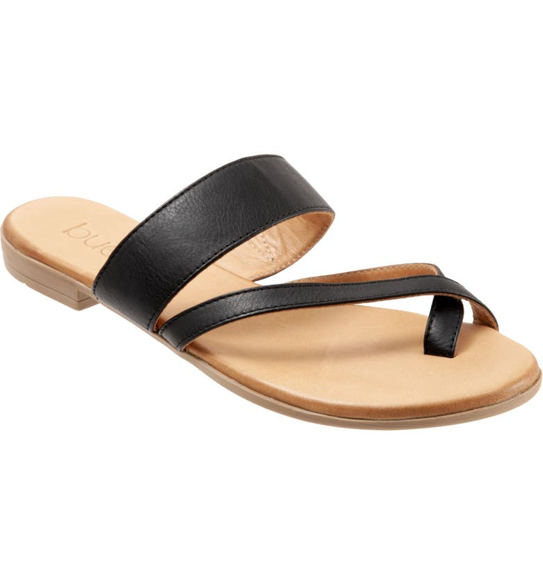 BUENO Jackson Toe Strap Slide Sandal, Main, color, BLACK LEATHER