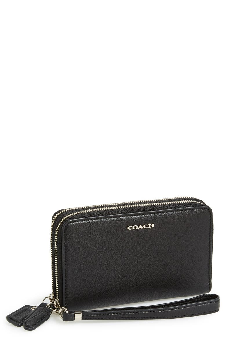 COACH 'Madison' Zip Around Leather Phone Wristlet, Main, color, 045