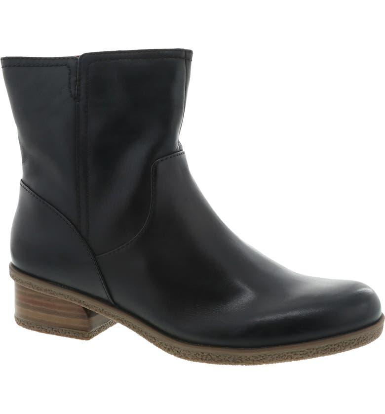 DANSKO Bethanie Waterproof Boot, Main, color, BLACK WATERPROOF LEATHER