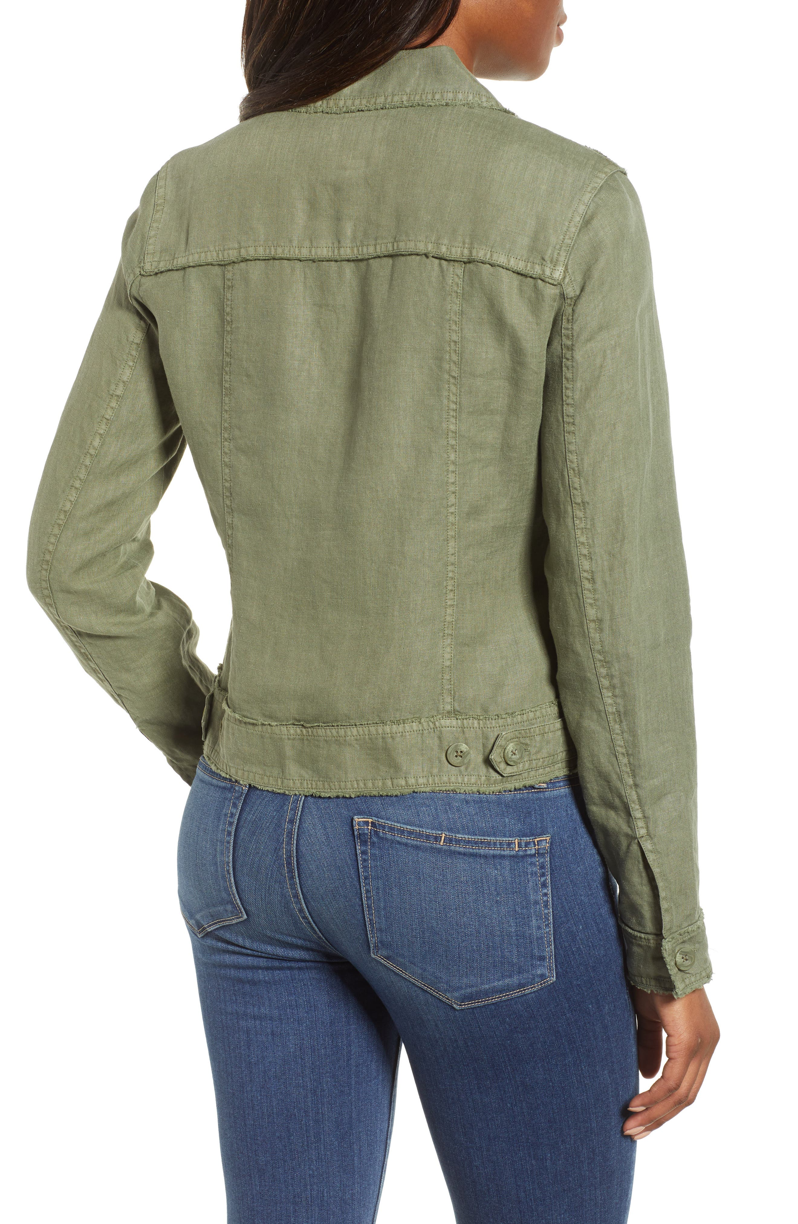 ,                             'Two Palms' Linen Raw Edge Jacket,                             Alternate thumbnail 2, color,                             TEA LEAF