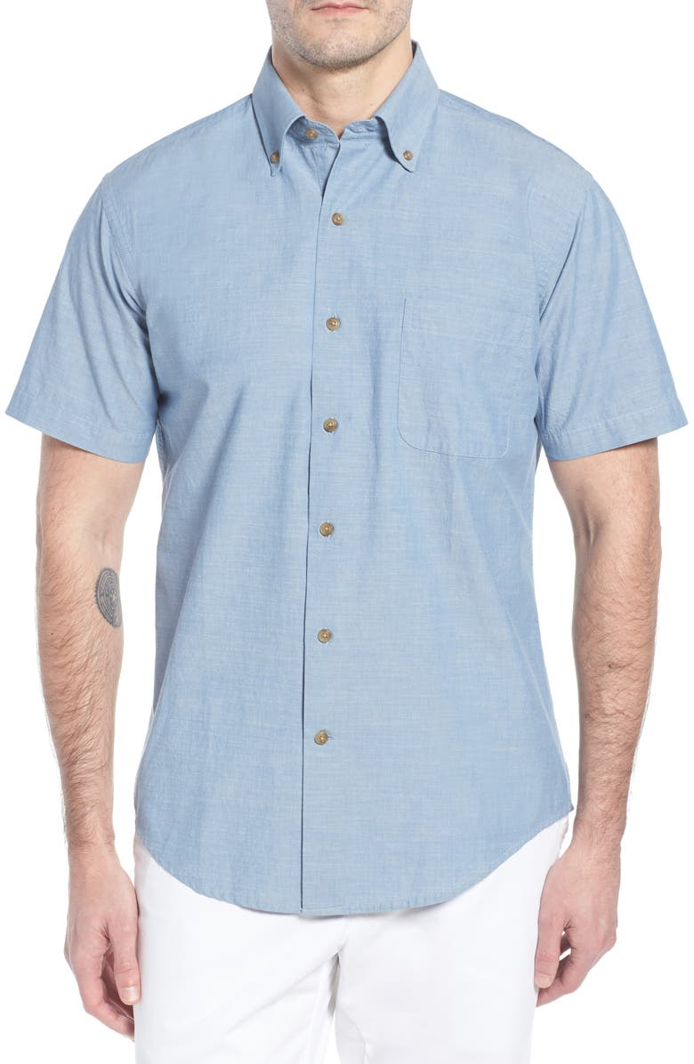 PETER MILLAR Heritage Chambray Sport Shirt, Main, color, 453