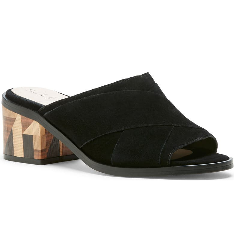 SOLE SOCIETY Tota Slide Sandal, Main, color, BLACK SUEDE