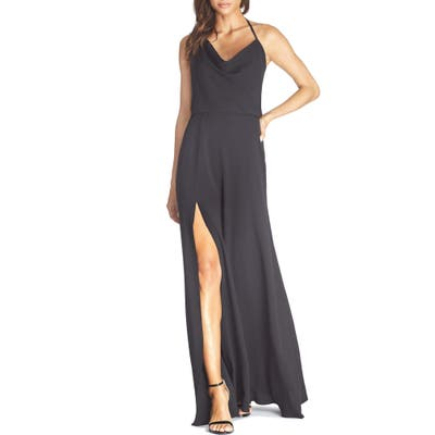 Dress The Population Cheyenne Cowl Neck Evening Gown, Black