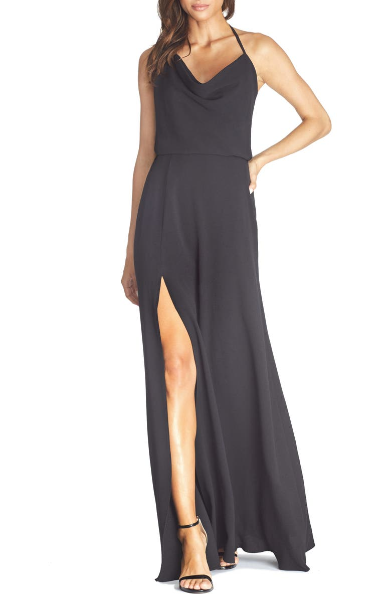 DRESS THE POPULATION Cheyenne Cowl Neck Evening Gown, Main, color, BLACK