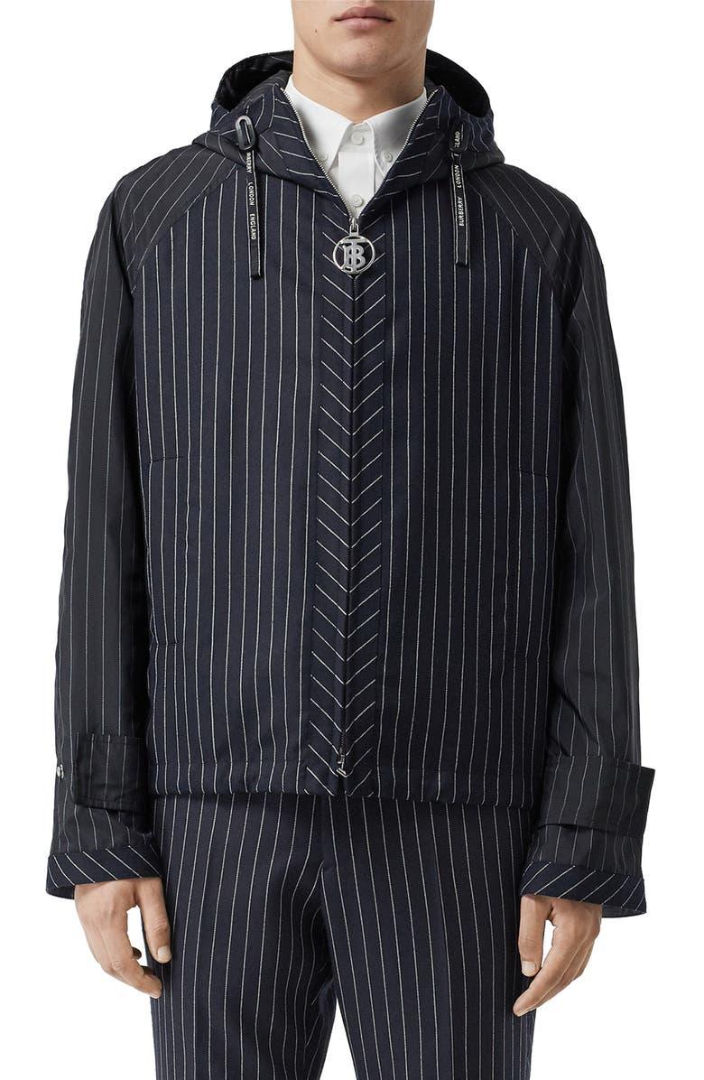 BURBERRY Pinstripe Hooded Wool Jacket, Main, color, DARK NAVY WHITE