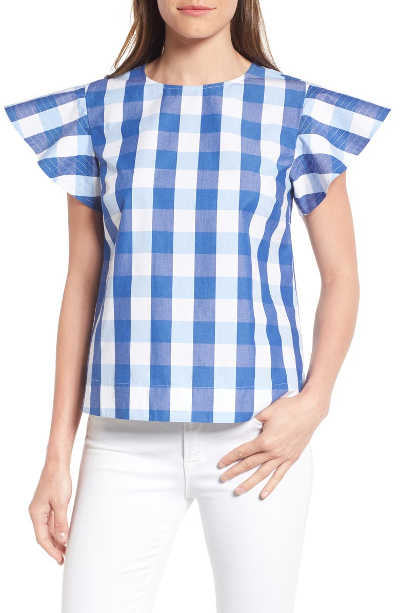 DRAPER JAMES Cloister Gingham Cotton Top, Main, color, 400