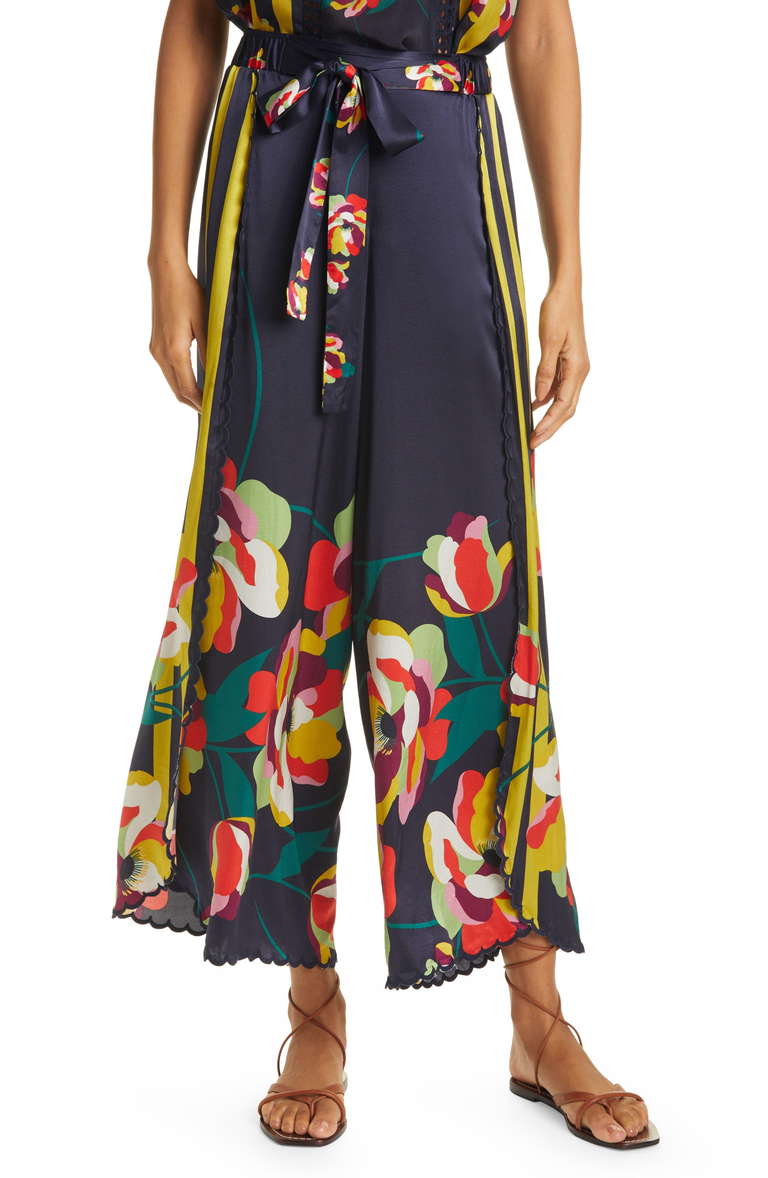 1930s Wide Leg Pants and Beach Pajamas Womens Johnny Was Cassandra Floral Crop Wide Leg Drawstring Pants Size Large - Blue $285.00 AT vintagedancer.com
