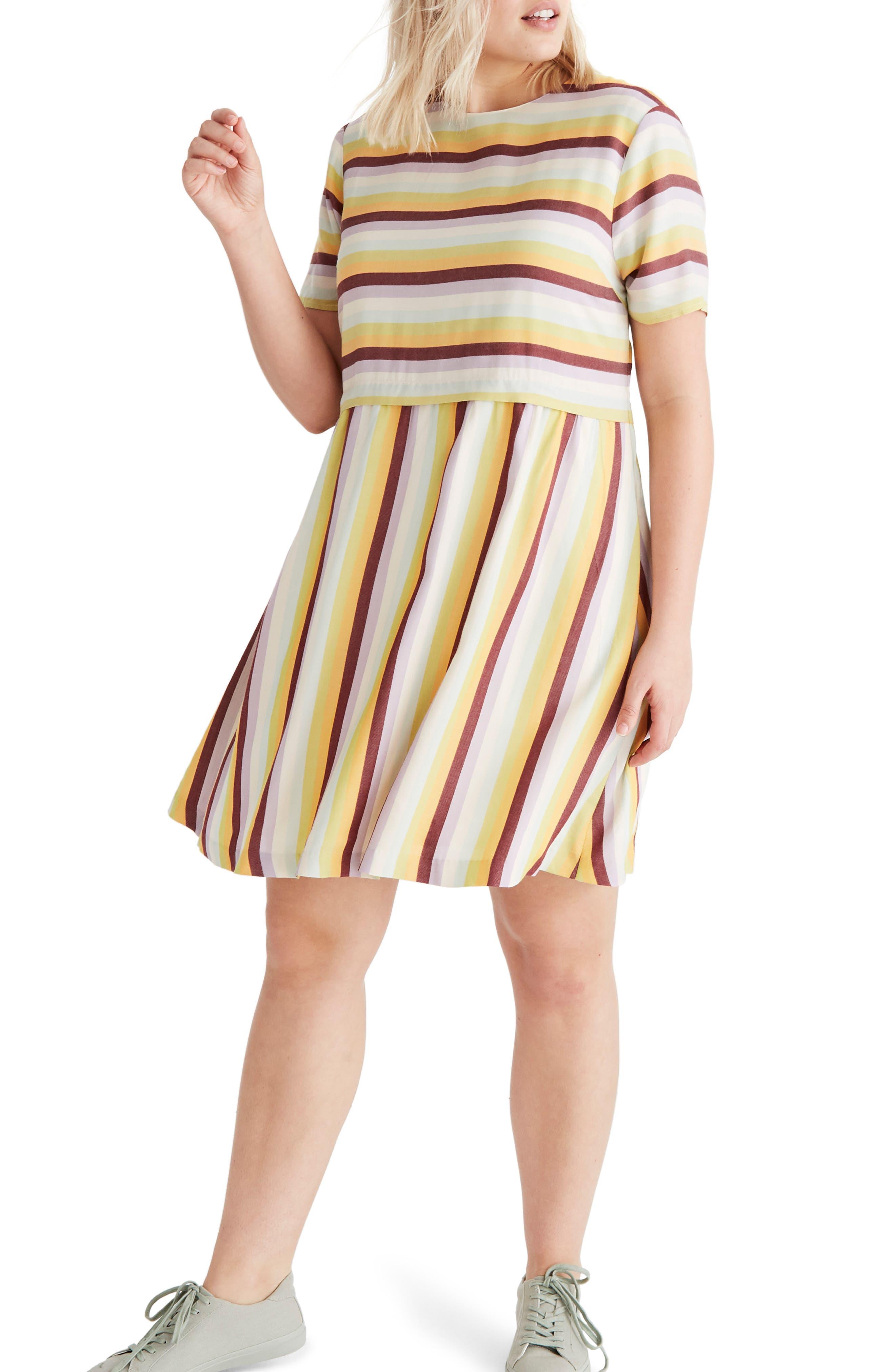 Madewell Stripe Scoop Back Dress, Yellow