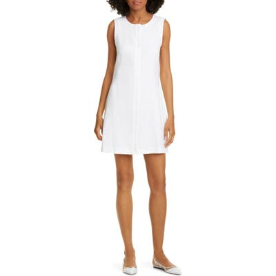 Theory Easy Crew Stretch Linen Blend Shift Dress, White