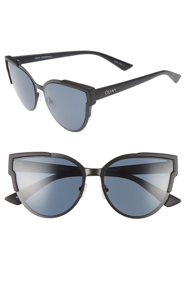 QUAY AUSTRALIA Game On 57mm Cat Eye Sunglasses, Main, color, 001
