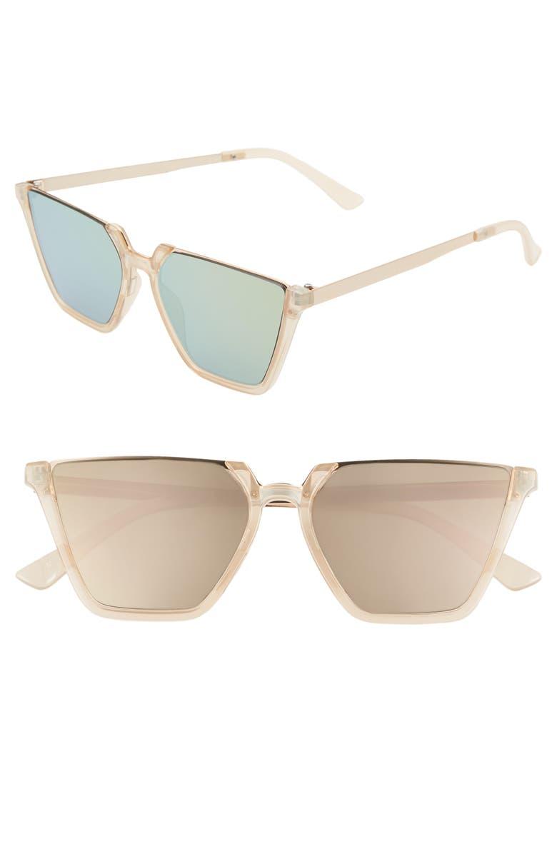 BP. 52mm Squared Off Semi Rimless Sunglasses, Main, color, CLEAR