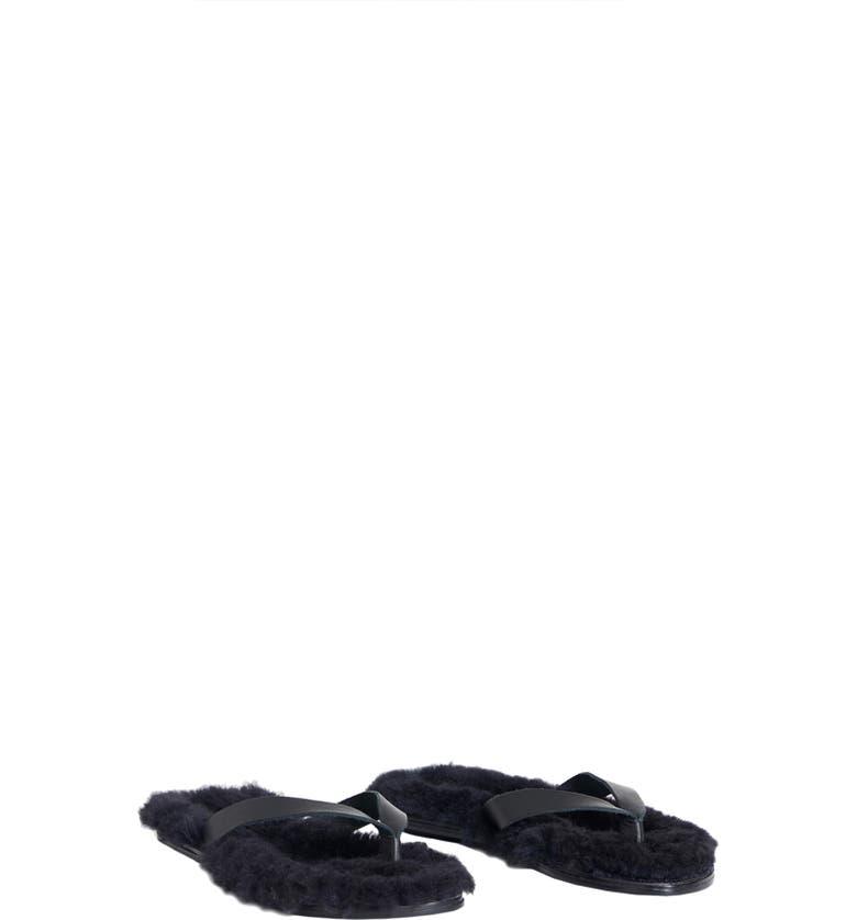 TIBI Bryan Genuine Shearling Flip Flop, Main, color, 001