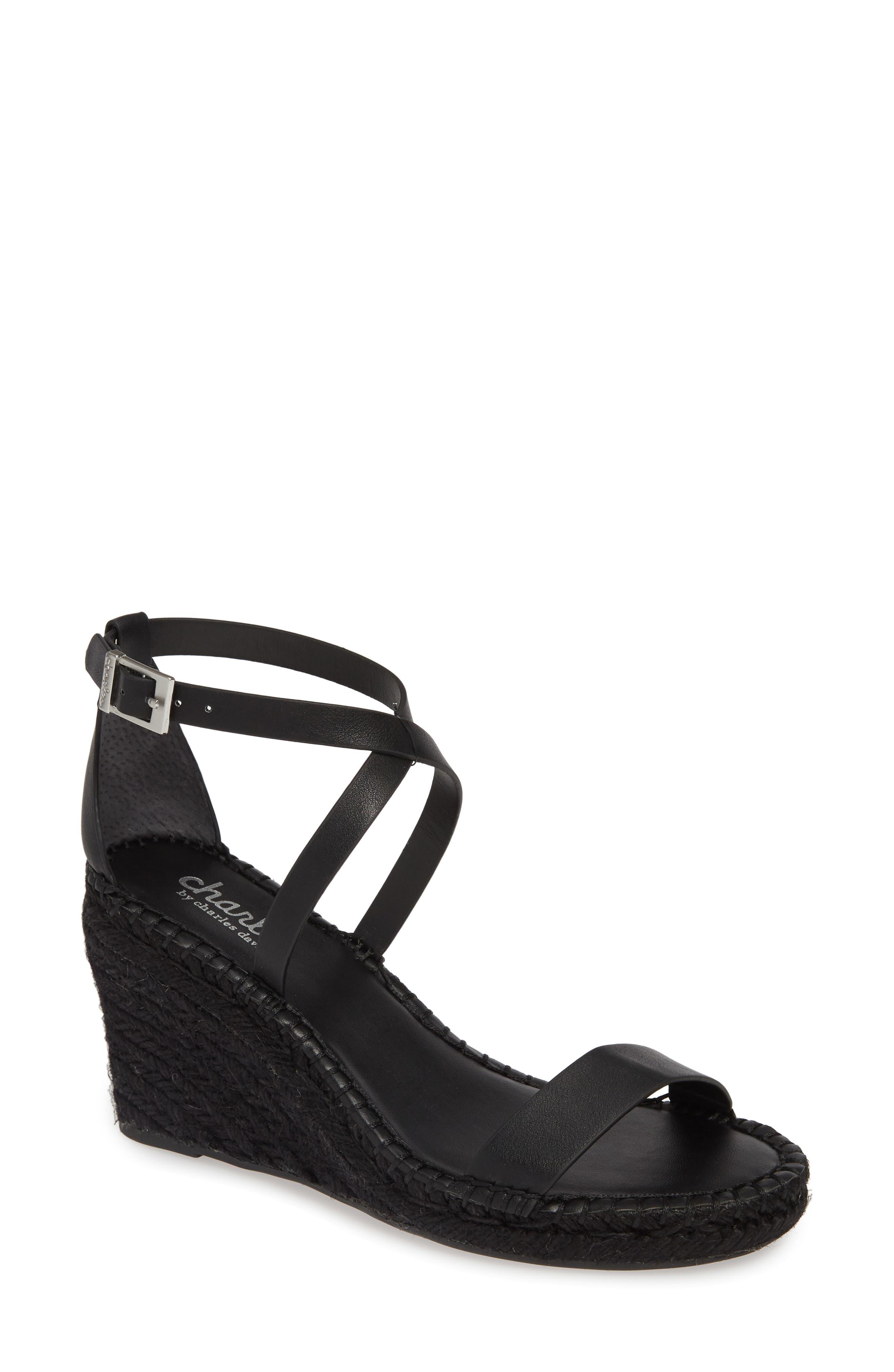 Nola Espadrille Wedge Sandal, Main, color, BLACK FAUX LEATHER
