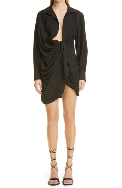 Jacquemus LA ROBE BAHIA DRAPE LONG SLEEVE SHIRTDRESS