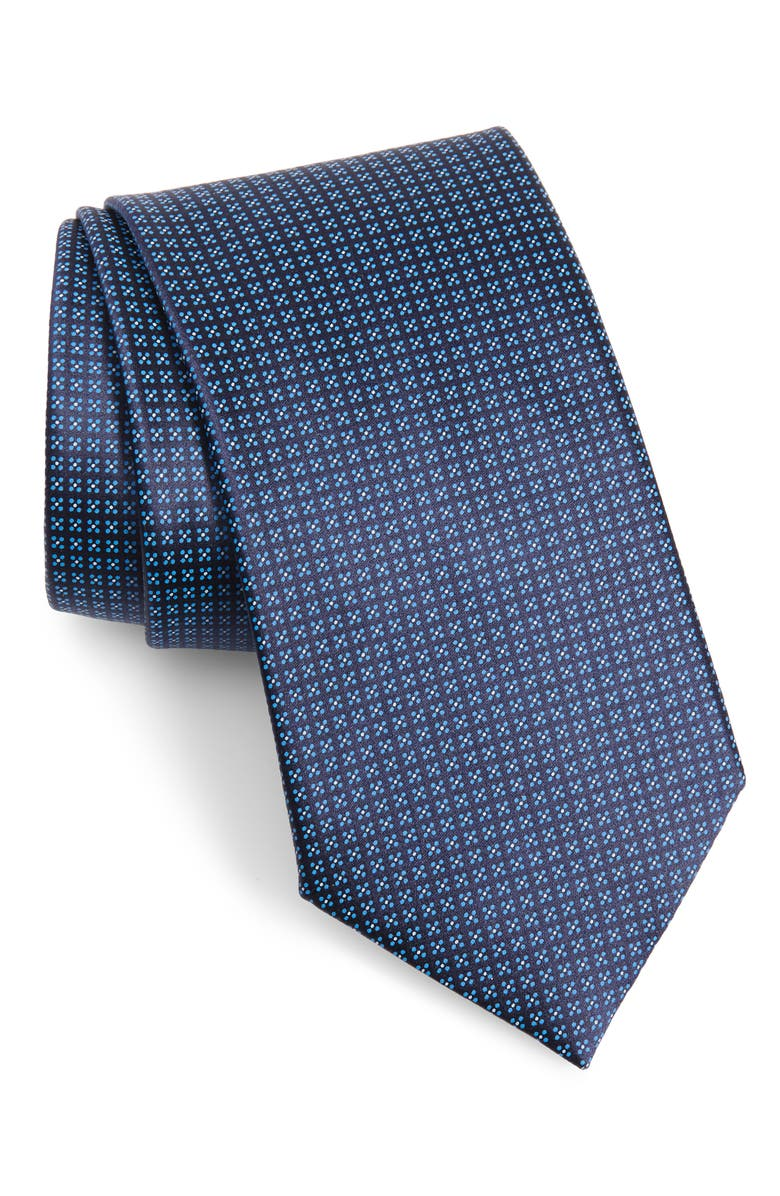 ERMENEGILDO ZEGNA Geometric Silk Tie, Main, color, NAVY