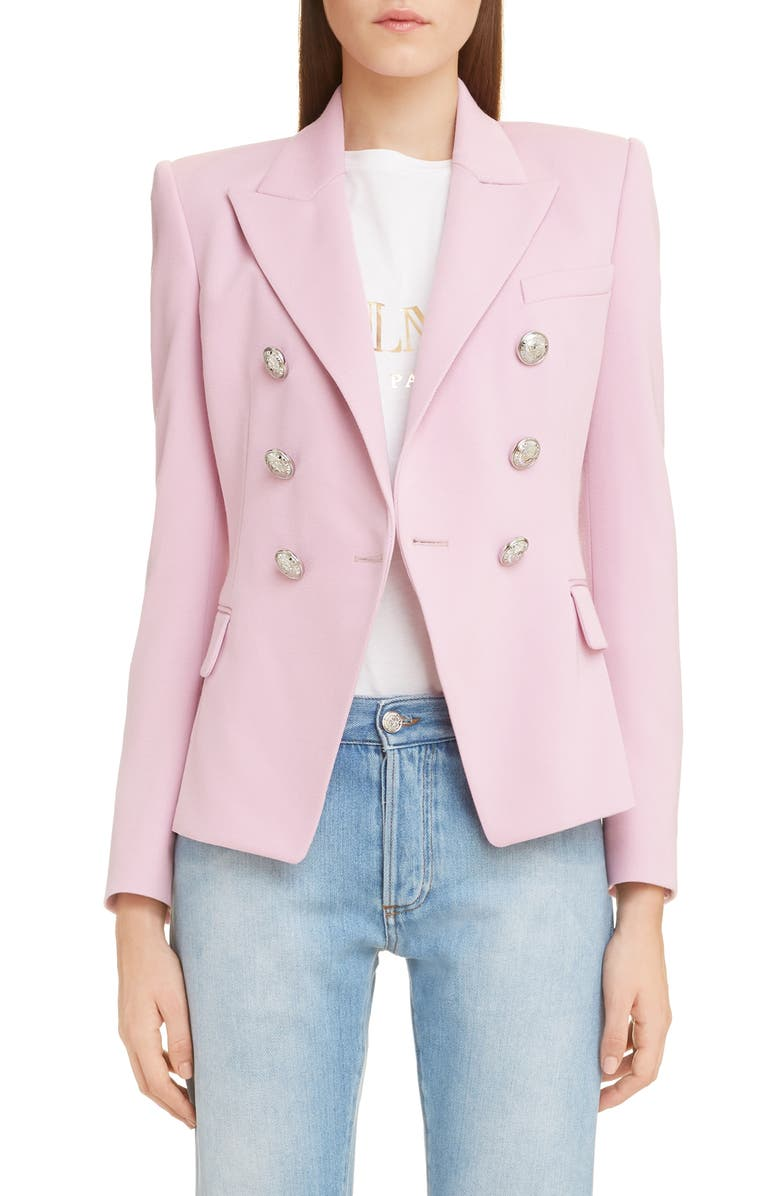 BALMAIN Double Breasted Wool Blazer, Main, color, 4AE ROSE LAYETTE